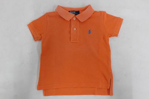 RALPH LAUREN Boys Orange Tshirt Cotton Small Pony Logo Polo Shirt Top 12 Months