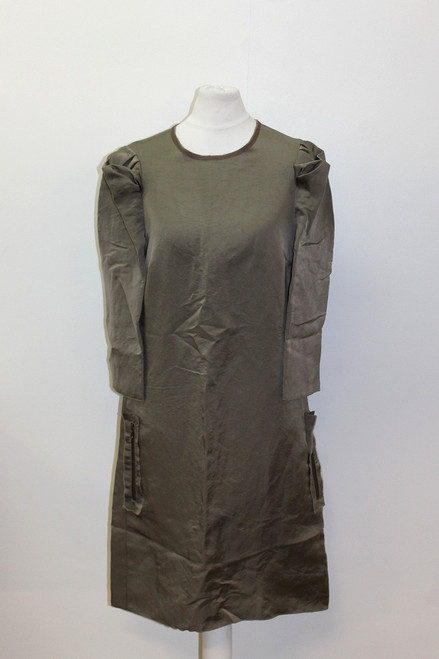 LANVIN Ladies Khaki Brown Silk 3/4 Sleeve Puffy Shoulder Shift Dress EU36 UK8