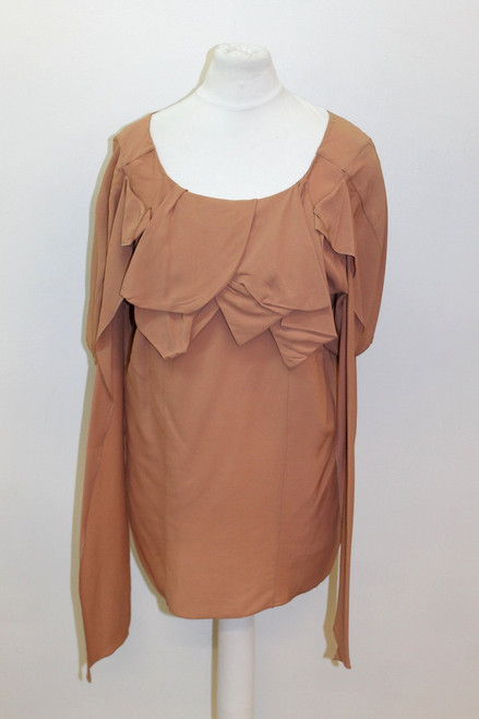 BNWT MARNI Ladies Tan Brown Short Sleeve Ruffle Scoop Neck Top Size IT38 UK6