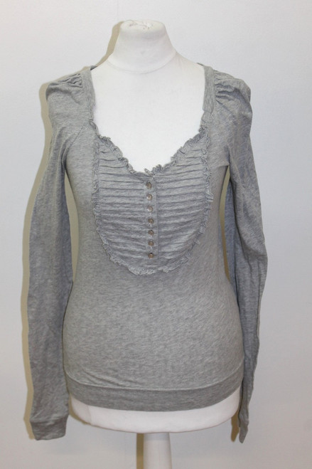 MARC JACOBS Ladies Grey Cotton Long Sleeve Scoop Neck Ruffle Top Size XS