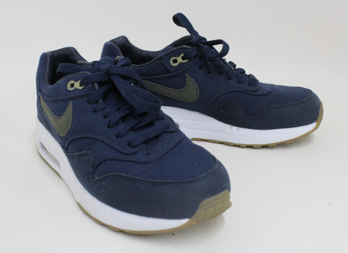 A.P.C. NIKE Air Max Ladies Navy Blue & White Canvas Lace Up Trainers EU37.5 UK4