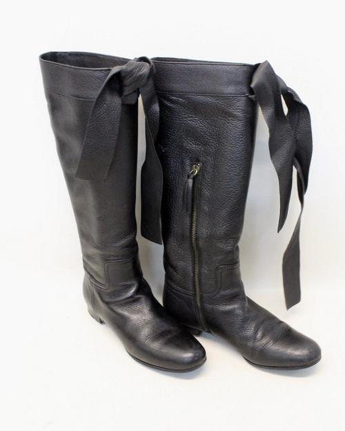 MIU MIU Ladies Black Leather Round Toe Block Heel Knee High Boots UK2.5 EU35.5