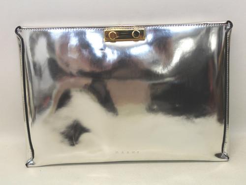 BNWT MARNI Ladies Silver Mirror Effect Leather Medium Rectangular Clutch Bag