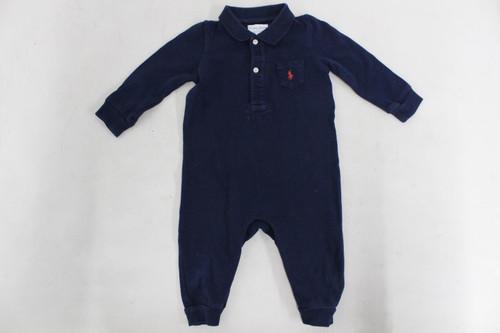 RALPH LAUREN Boys Navy Blue 100% Cotton One Piece Polo Shirt Jumpsuit 6 Months