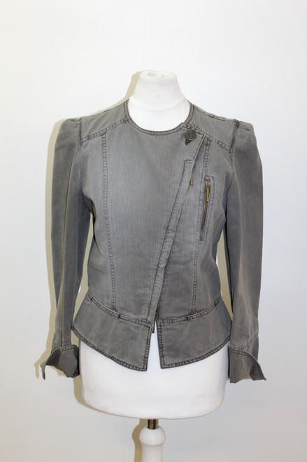 ARMANI JEANS Ladies Grey Cotton Asymmetric Striped Zipped Biker Jacket UK8 EU36