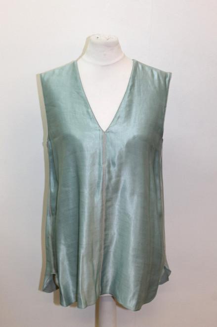 BNWT LANVIN Ladies Blue Linen Sleeveless V Neck Vest Top Blouse EU34 UK6