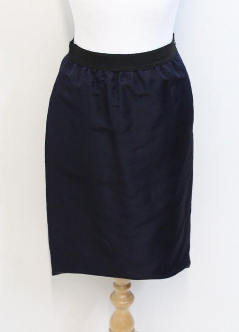 LANVIN Ladies Navy Blue Silk High Waisted Black Trim Pencil Midi Skirt UK8 IT40