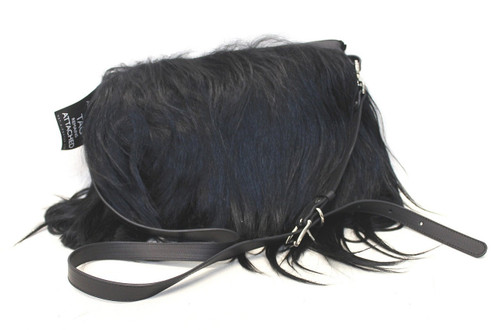 BNWT MARNI Ladies Black Long Goat Hair Medium Rectangular Cross Body Bag