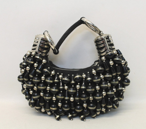 CHLOE Ladies Black & Silver Metallic Large Beaded 'Bracelet' Small Size Handbag