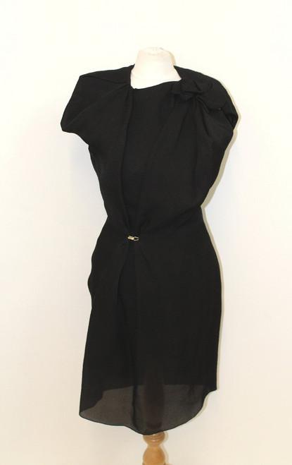 LANVIN Ladies Black Silk Textured Cap Sleeve Ruffled Pencil Dress UK8 EU36