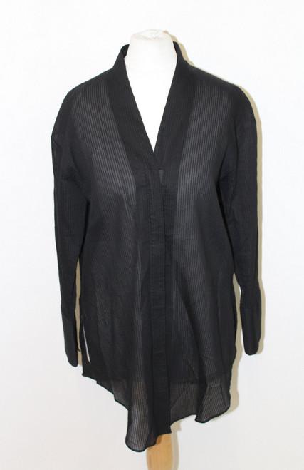 HELMUT LANG Ladies Black Striped Sheer V Neck Long Sleeve Zipped Shirt S