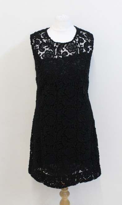 PRADA Ladies Black Crochet Lace Sleeveless Scoop Neck Pencil Dress UK12 IT44
