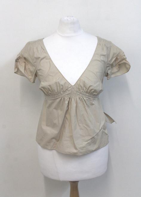 MARNI Ladies Beige Cotton Cap Sleeve V Neck Gathered Bust Tie Back Top UK10 EU38