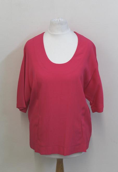 MARC JACOBS Ladies Fuchsia Pink Short Sleeve Scoop Neck Oversized Top UK6 US2