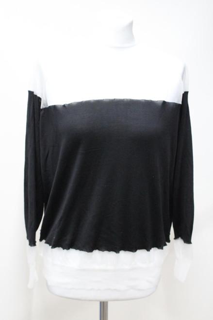 STELLA MCCARTNEY Ladies Long Sleeve Mesh Net Crew Neck Silk Sweater Top IT38 UK6