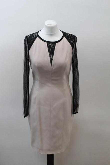 KAREN MILLEN Ladies Black Beige Long Sleeve Mesh Lace Dress Size Approx. XS