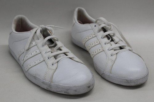 ADIDAS Ladies All White Low Top Lace Up Trainers Trefoil Detail UK5.5 EU38
