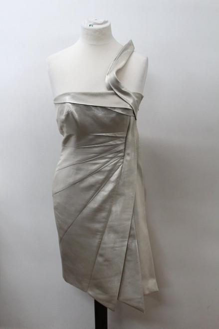 KAREN MILLEN Ladies Beige Panelled One Shoulder Metallic Dress Approx. M