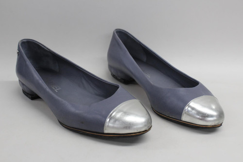 CHANEL Ladies Ballerina Leather Pumps Silver Toe Tip Slip On Shoes Grey UK5 EU38