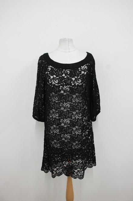 DIANE VON FURSTENBERG Ladies Black Floral Lace Scoop Neck Dress US6 UK10