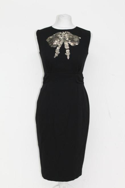 PAUL SMITH Ladies' Black Sleeveless Sequin Embellishment Midi Dress IT40 UK8