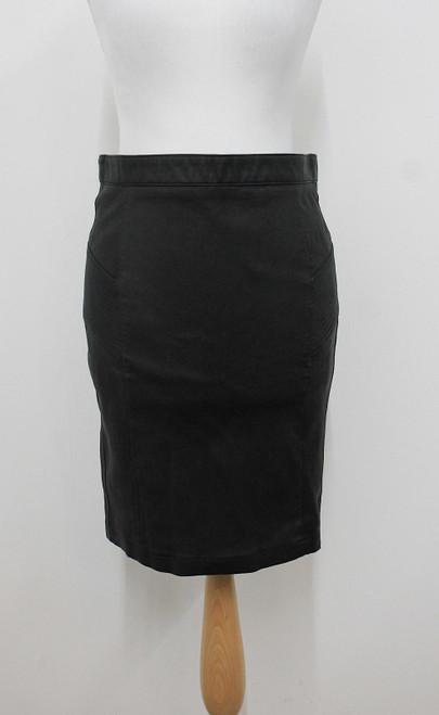BELSTAFF Ladies Black Leather Knee Length Pencil Style Skirt Size IT38 UK6