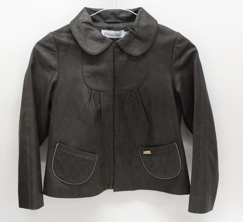CHRISTIAN DIOR Girls Dark Green Leather Long Sleeve Collared Jacket 8 Yrs.