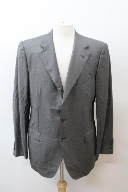 AQUASCUTUM Men's Grey Wool Notch Lapel Single Breasted Blazer Jacket IT52 UK42
