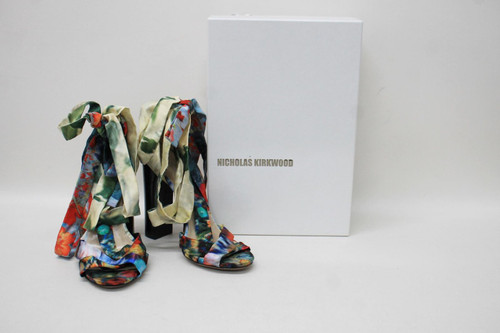 NICHOLAS KIRKWOOD Ladies Erdem Print Catwalk Lace Up Sandal Shoes EU40 UK7