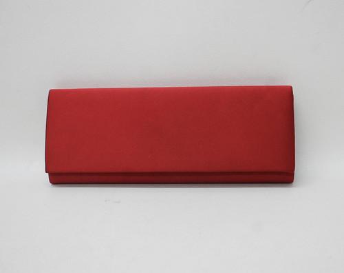 BCBG MAX AZRIA Ladies Crimson Red Satin Magnetic Snap Rectangular Clutch Bag