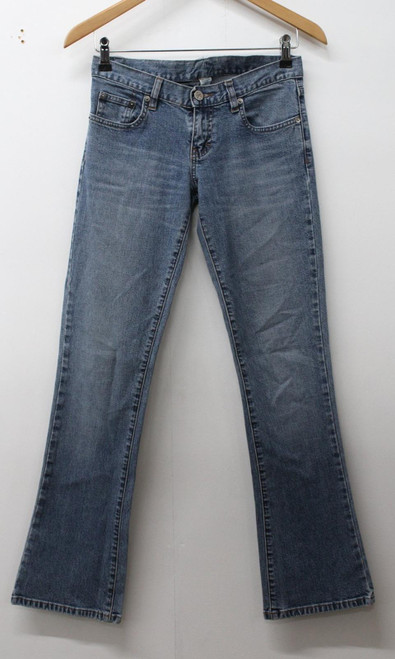 CALVIN KLEIN Ladies Blue Cotton Blend Faded Denim Bootcut Leg Jeans W27 L30