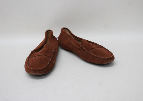 TOD'S Ladies Brown Suede Slip On Penny Driving Loafers Shoes EU34.5 UK2.5