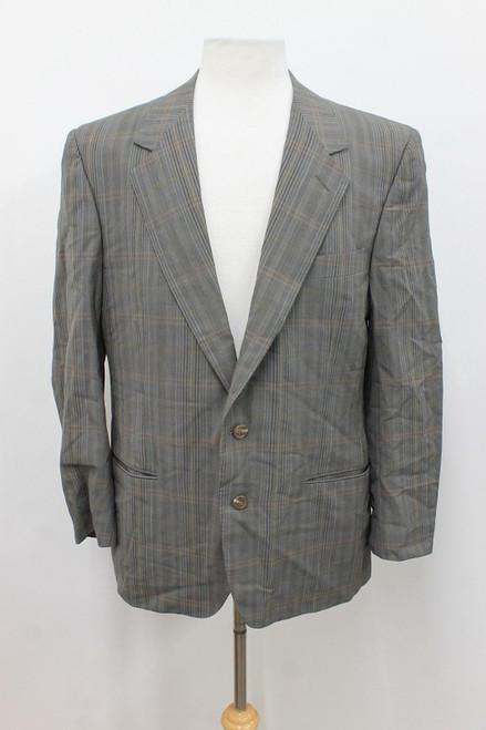 ERMENEGILDO ZEGNA Men's Grey Multi-Coloured Check Wool Blazer Jacket Approx. XL