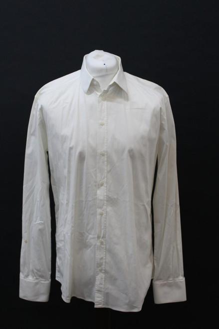 "DOLCE & GABBANA GOLD Men's Ivory Cotton Blend Collared Formal Collar 16.5"" 42cm"