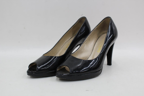 RUSSELL & BROMLEY Ladies Black Patent Leather Peep Toe Court Shoes UK3.5 EU36