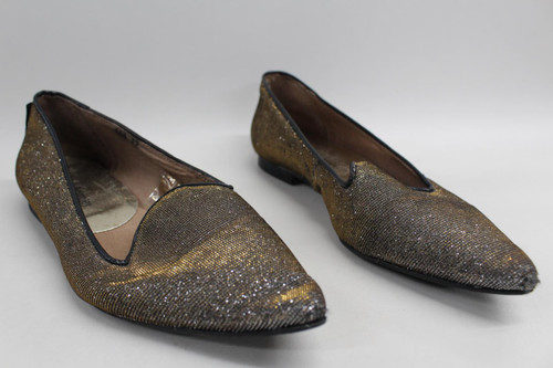 RUSSELL & BROMLEY Ladies Leather Lined Flat Ballerina Shoes Gold Tone UK2.5 EU35