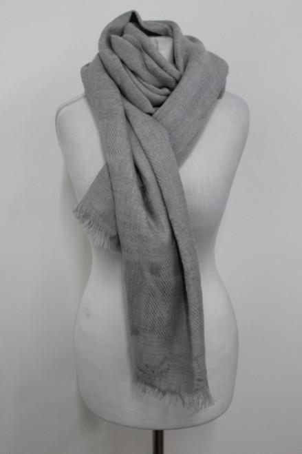 "ARMANI Colleczioni Ladies Large Grey Floral Pattern Design Scarf 66""x30"""