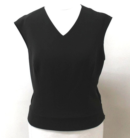 JAEGER Ladies Black Wool Blend Cap Sleeve V Neck Back Cross Over Top UK10