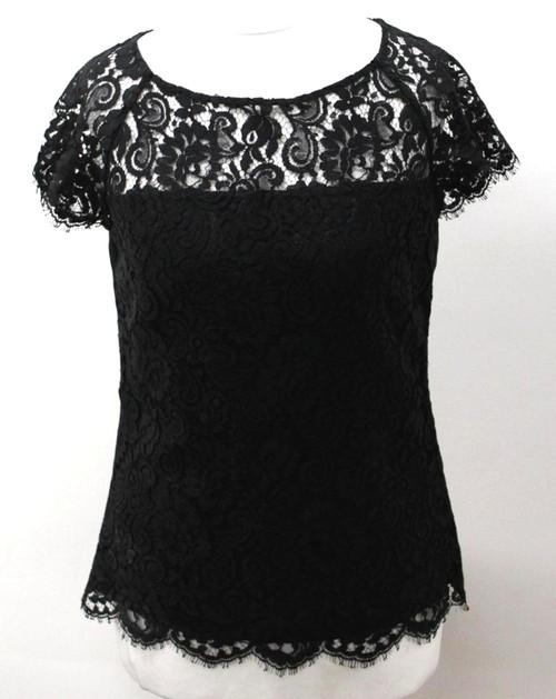 L.K.BENNETT Ladies Black Cap Sleeve Cree Neck Eyelash Lace Keyhole Blouse UK6