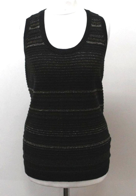 MULBERRY Ladies Black Cotton Blend Sleeveless Striped Sparkly Knit Top S