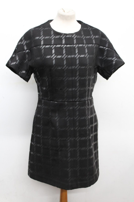 ALEXANDER WANG Ladies Black & Grey Short Sleeve Scoop Neck Dress UK Medium