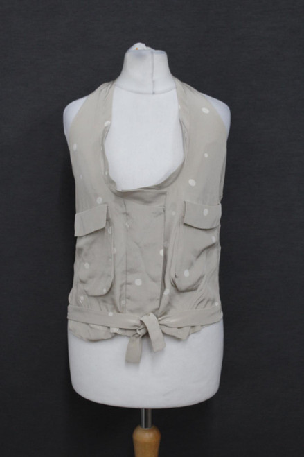 MARNI Ladies Beige Polka Dot Silk Sleeveless Halter Detail Vest Top IT38 UK6