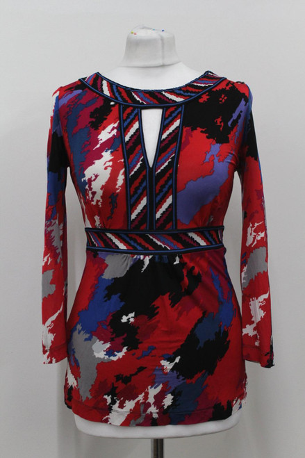 BCBG MAX AZRIA Ladies Red Blue 3/4 Sleeve Printed Key Hole Neck Top Size XXS