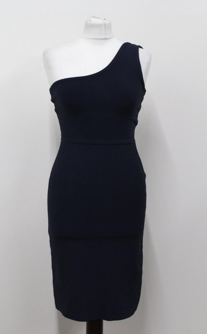 BCBG MAX AZRIA Ladies Navy Blue One Shoulder Stretchy Zip Up Bodycon Dress S