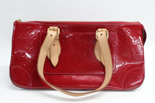 LOUIS VUITTON Ladies Monogram Red Patent Leather Handbag Double Brown Straps