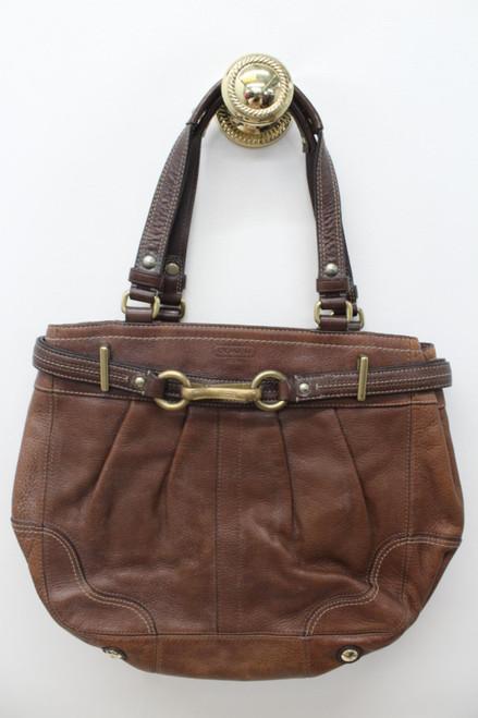 COACH Ladies Hamptons Leather Brown Bag 12476 Double Handle Zip Up Closure