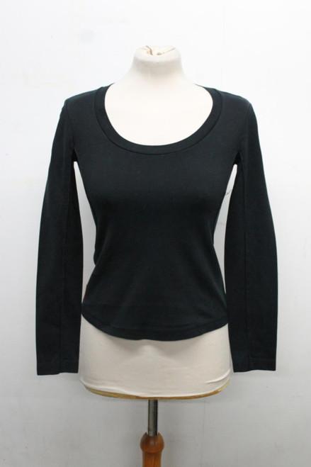PRADA Ladies Black Cotton Long Sleeve Stretch Fit Scoop Neck Sweater Top XS