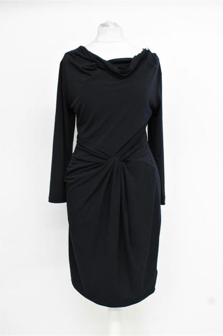 MICHAEL KORS Ladies Black Long Sleeved Draped Cowl Neck Shift Dress XS