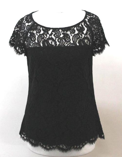 L.K.BENNETT Ladies Black Cap Sleeve Crew Neck Lace Overlay Silk Back Top UK8