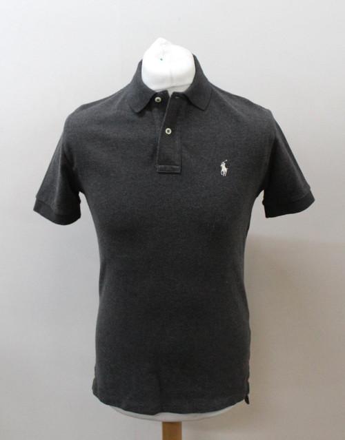POLO RALPH LAUREN Men's Grey Cotton Short Sleeve Collared Polo Shirt Size S